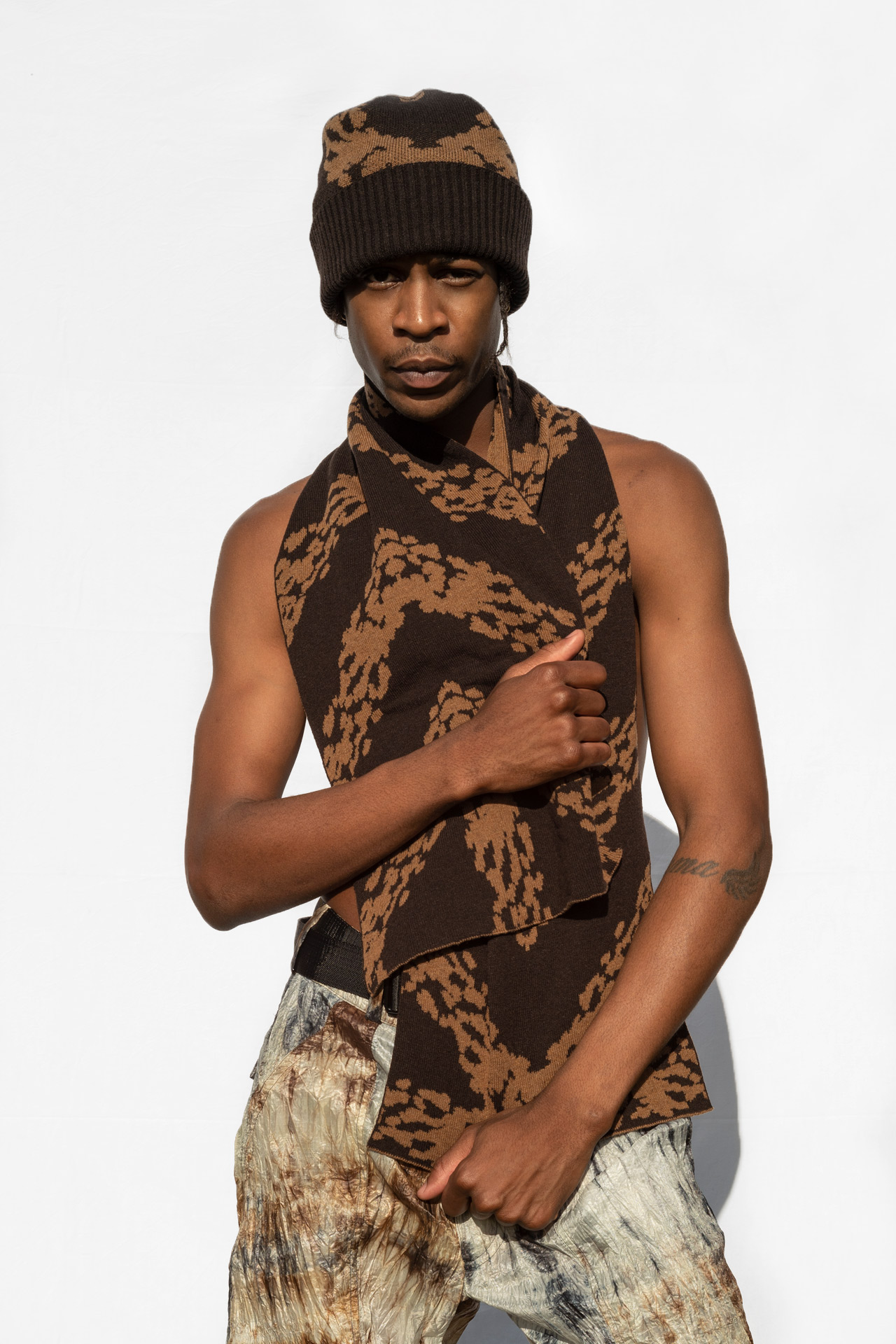 Jacquard Knit Beanie Brown