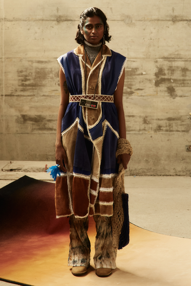 Custom made upcycled leather crochet dress