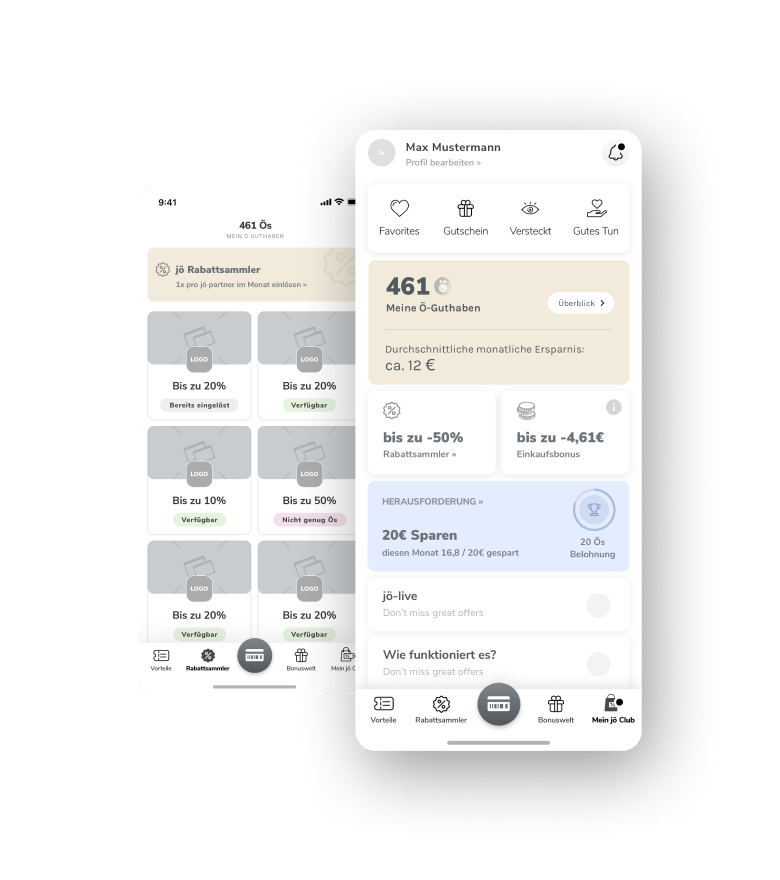 Joe Bonus Club App concept wireframe.