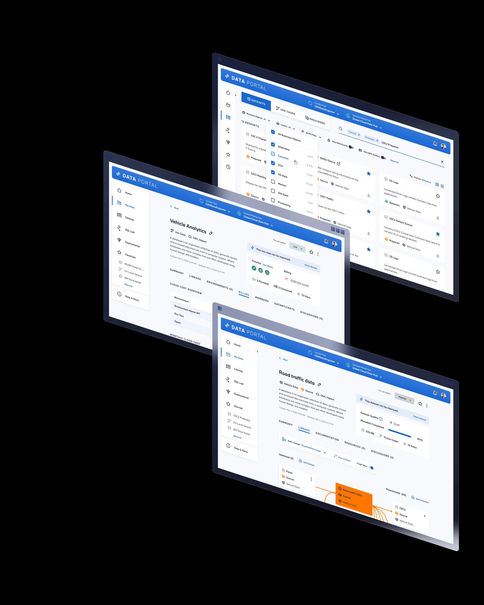 Various screen designs of the Data Portal
