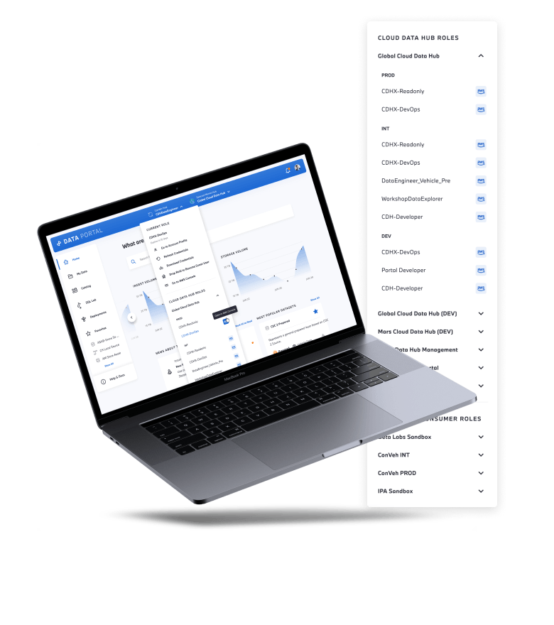 Mockup of the Data Portal on a laptop