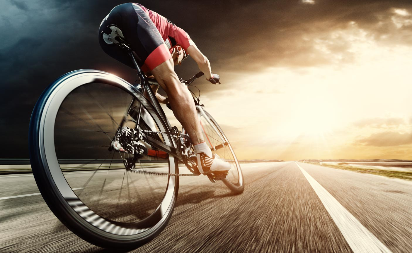 Professional bicycle rider ride fast