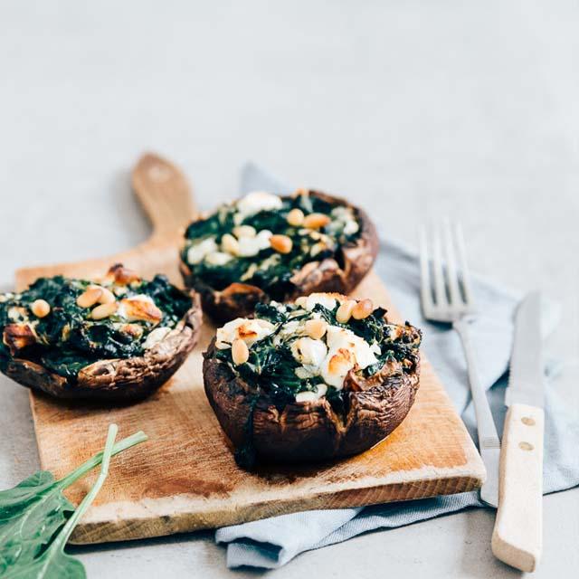 Gevulde portobello's met spinazie en geitenkaas