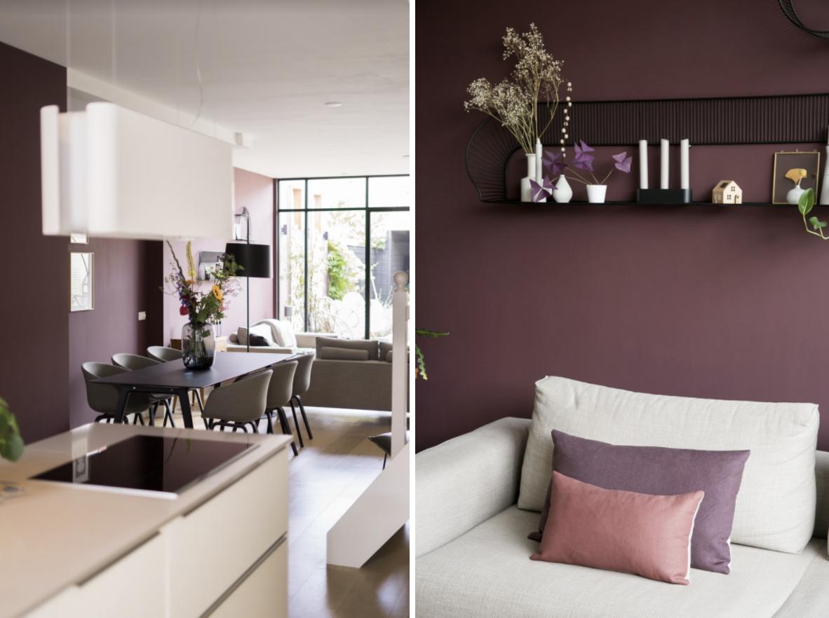 Aubergine kleurige muur in Brinjal van Farrow & Ball: een warme, paars rode kleur