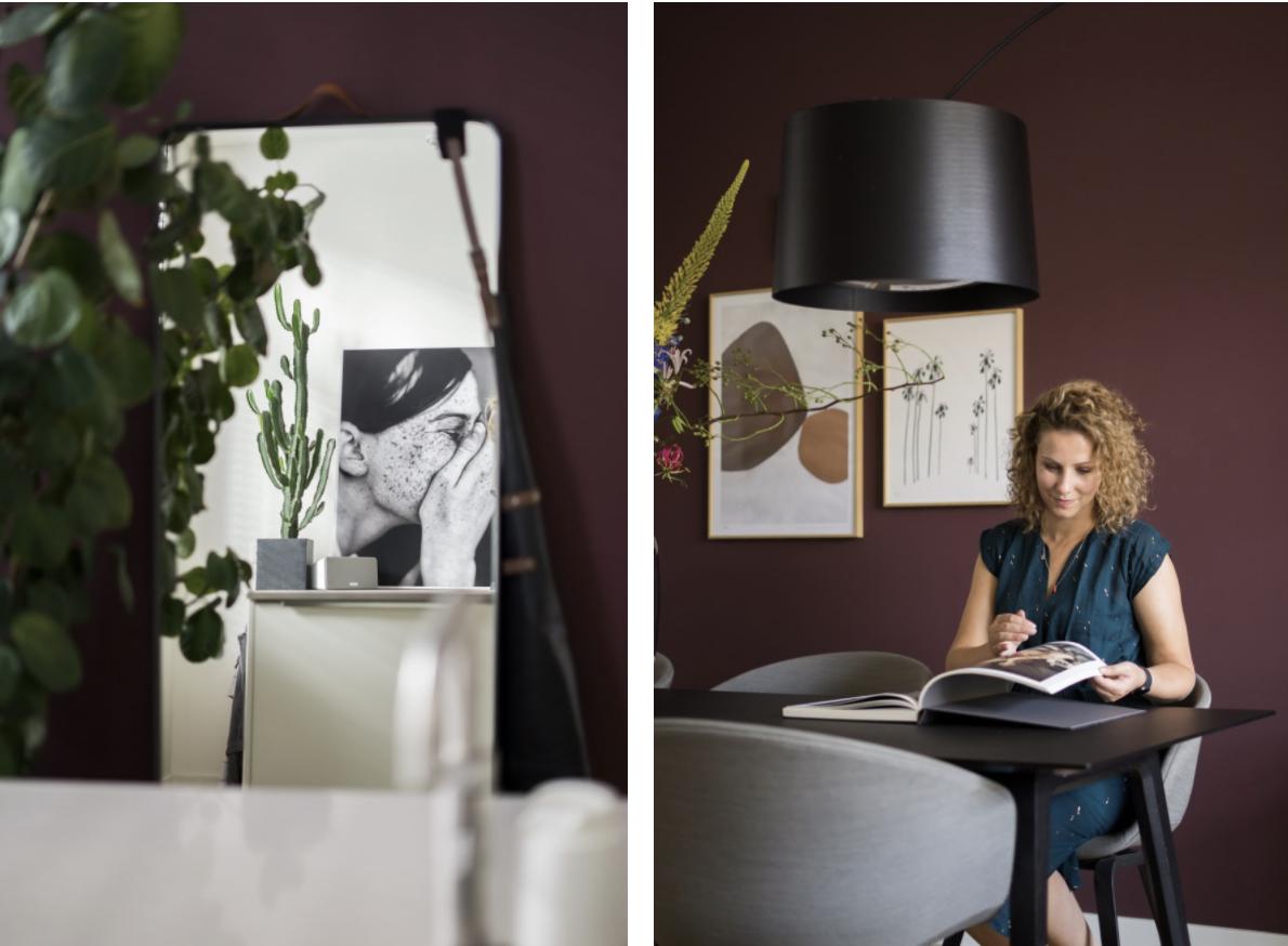 Farrow en Ball Brinjal: een warme, aubergine kleur op de muur
