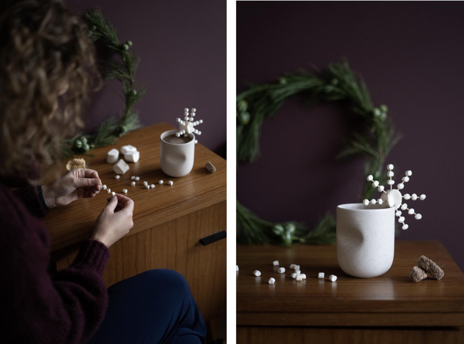 DIY marshmallow sneeuwvlok voor warme chocolademelk