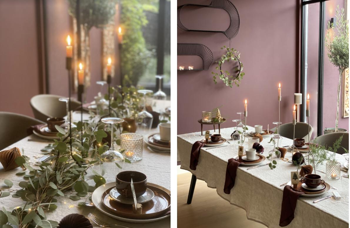 Kersttafel dekken met sfeerlicht
