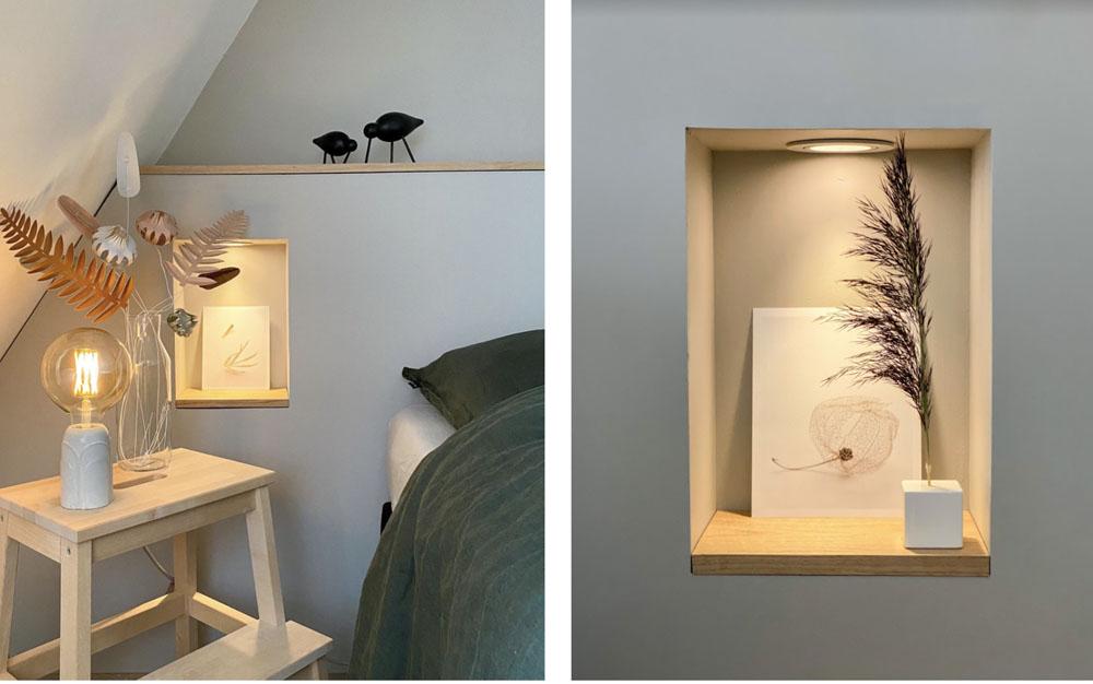 DIY hoofdbord op maat slaapkamer bed met nisjes
