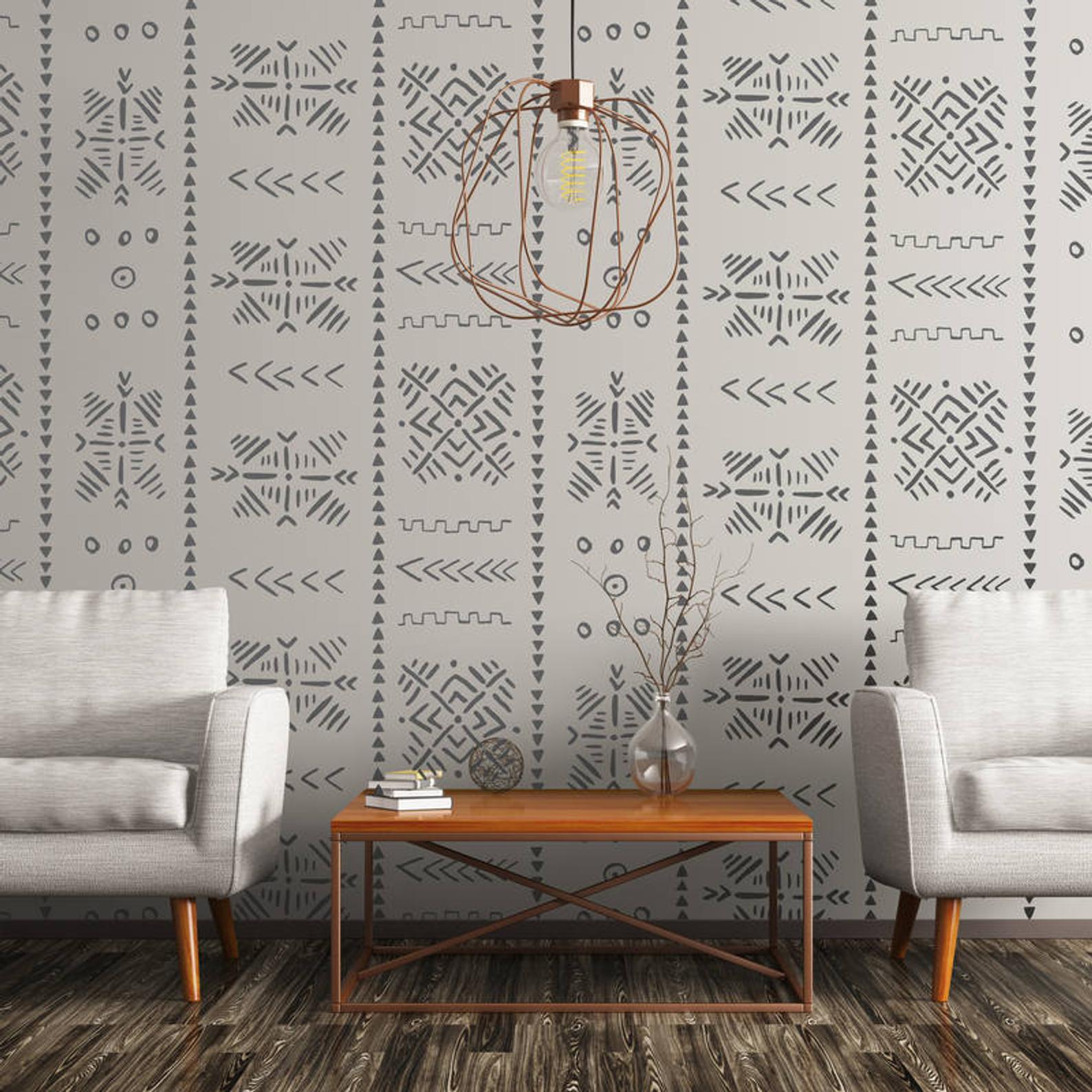 Behang van modderdoek patroon in zwartwit