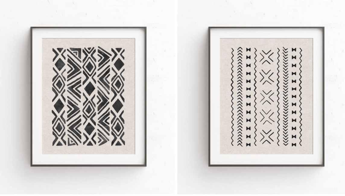 Modderdoek print in een gallery art wall