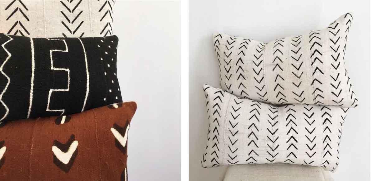 Modderdoek kussens met grafische print van Pheasant Gold