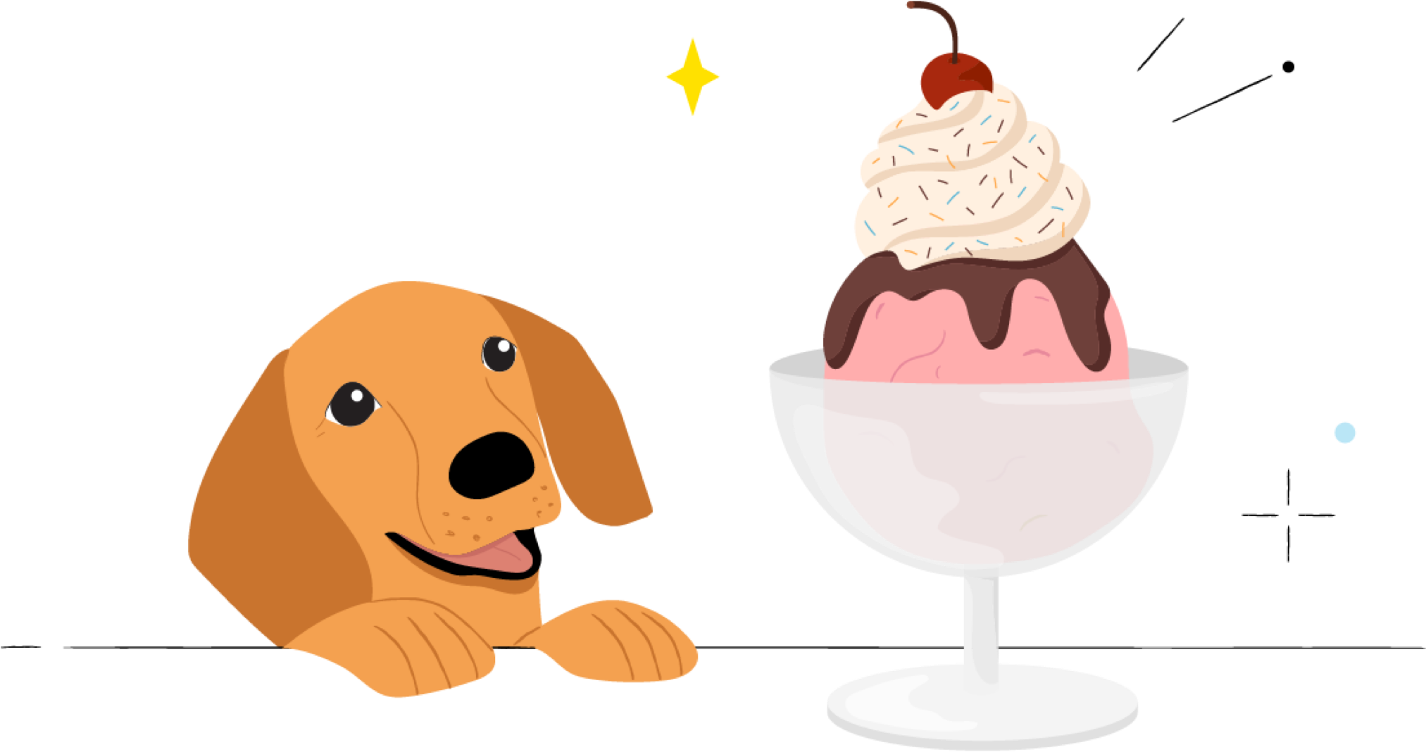 A cute dog looking at ice cream sundae