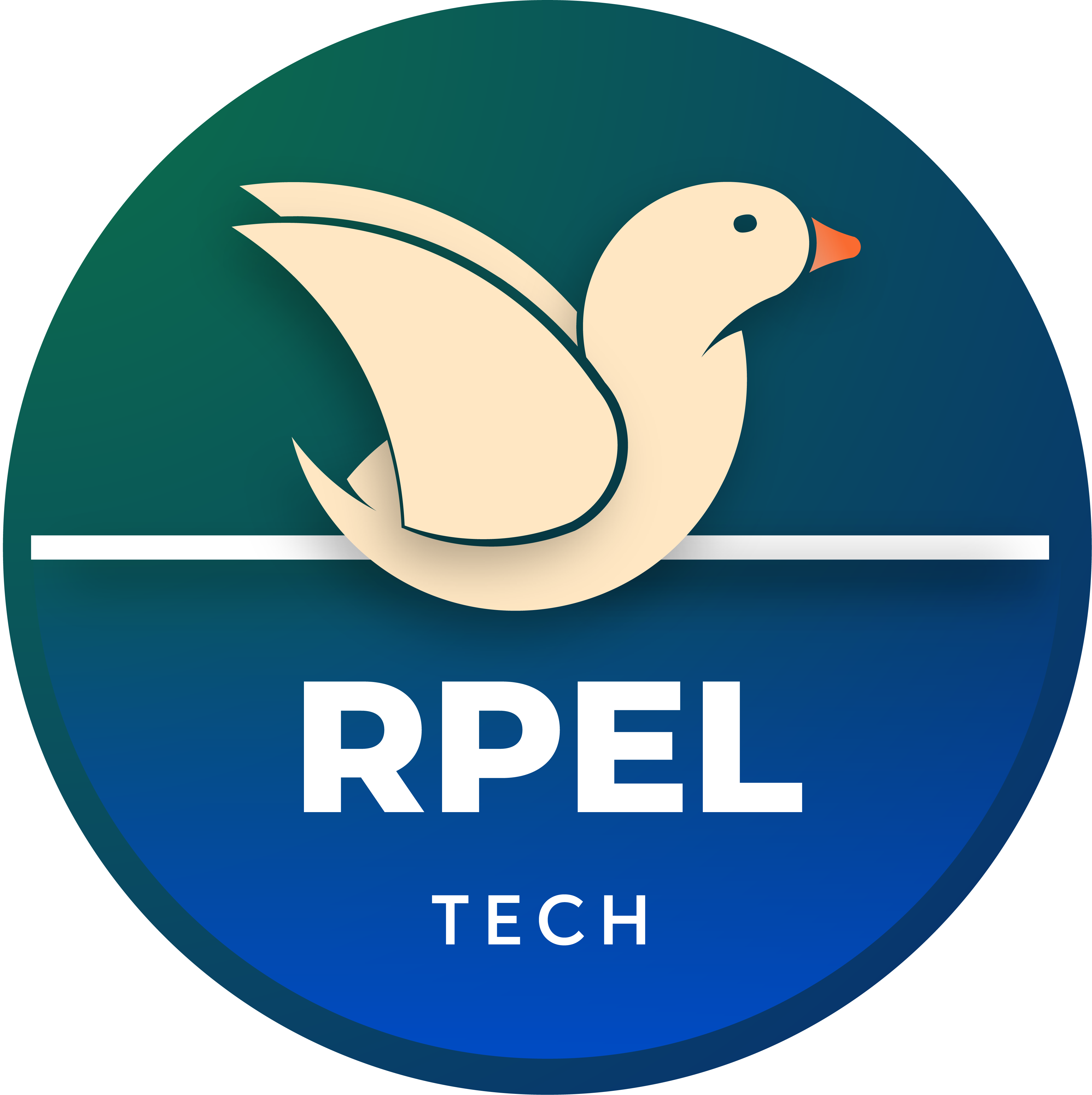 Circular logo of the tech branche of the RPEL GmbH (beige drake with orange beak and blue fadeout)