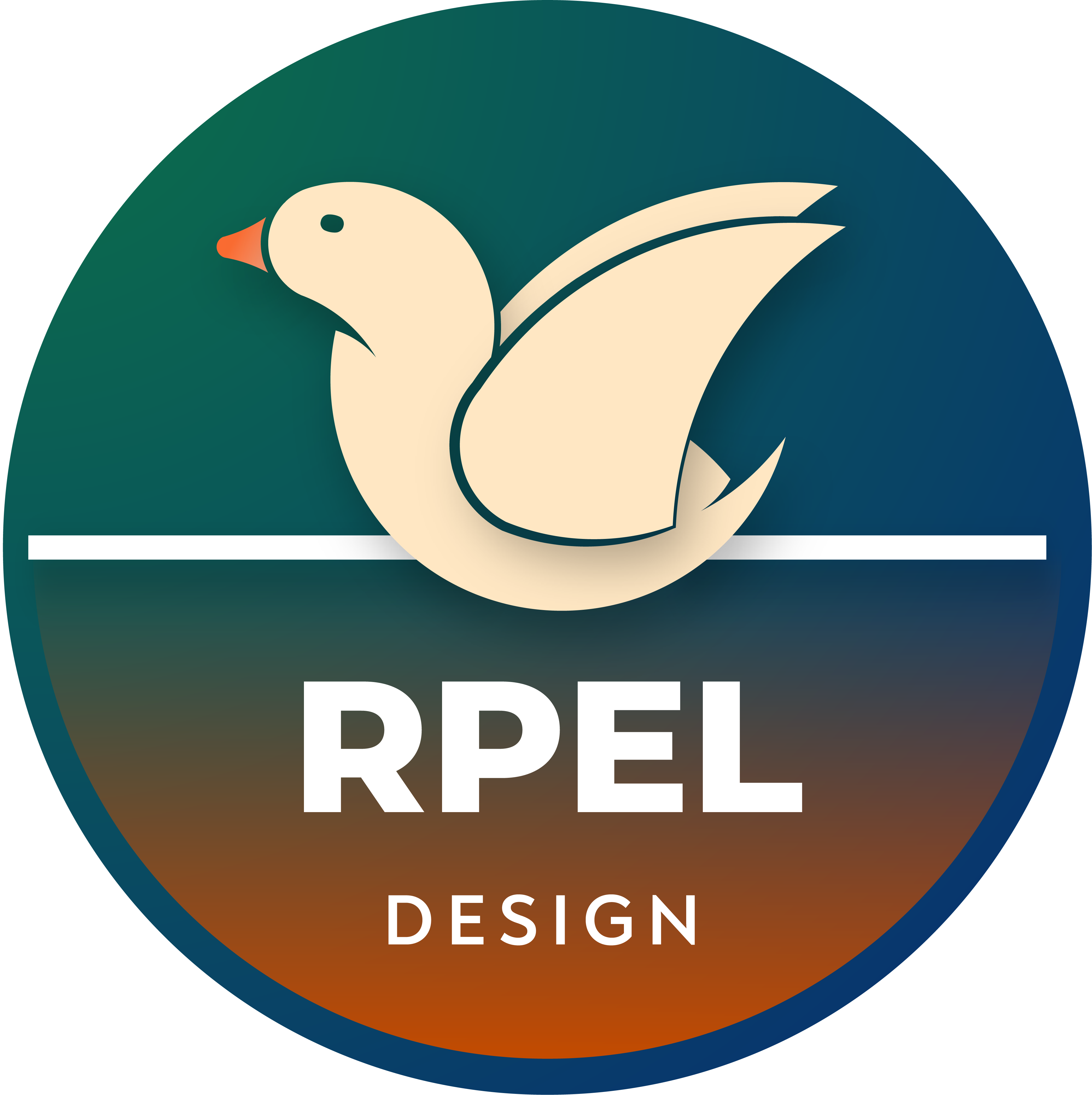 Circular logo of the design branche of the RPEL GmbH (beige drake with orange beak and orange fadeout)