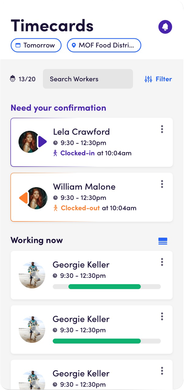 Screenshot from the Socialwyze App. Time Cards screen.