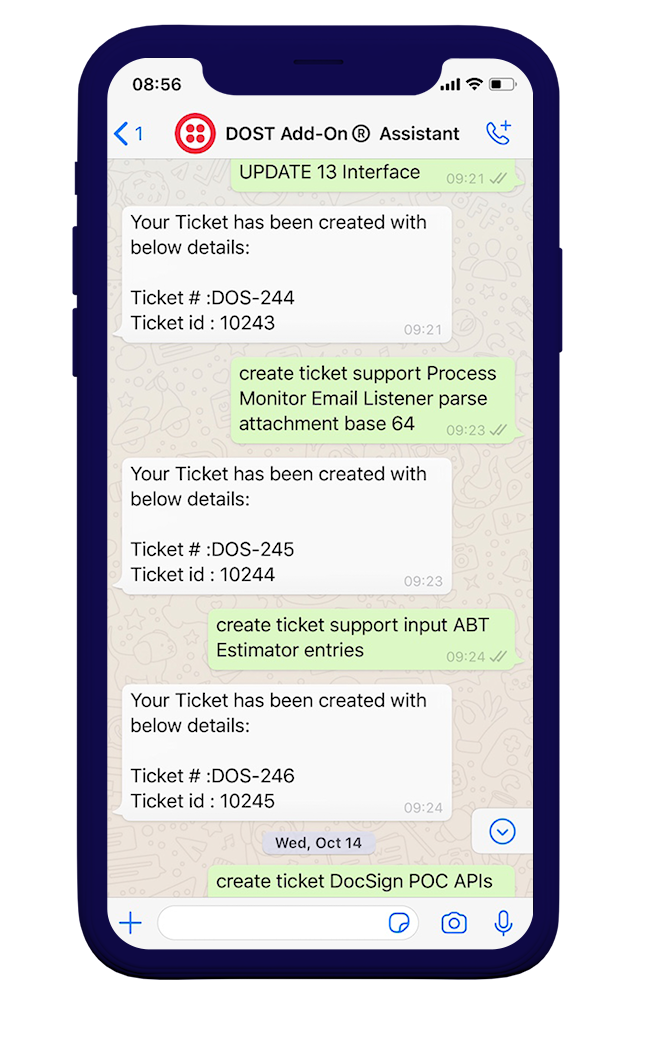 iPhone mockup that shows Whats App integration with DOST Add on