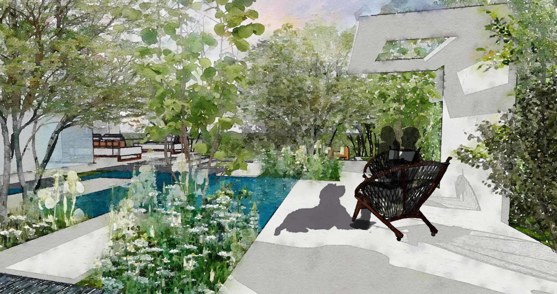 Garden structure, garden pool