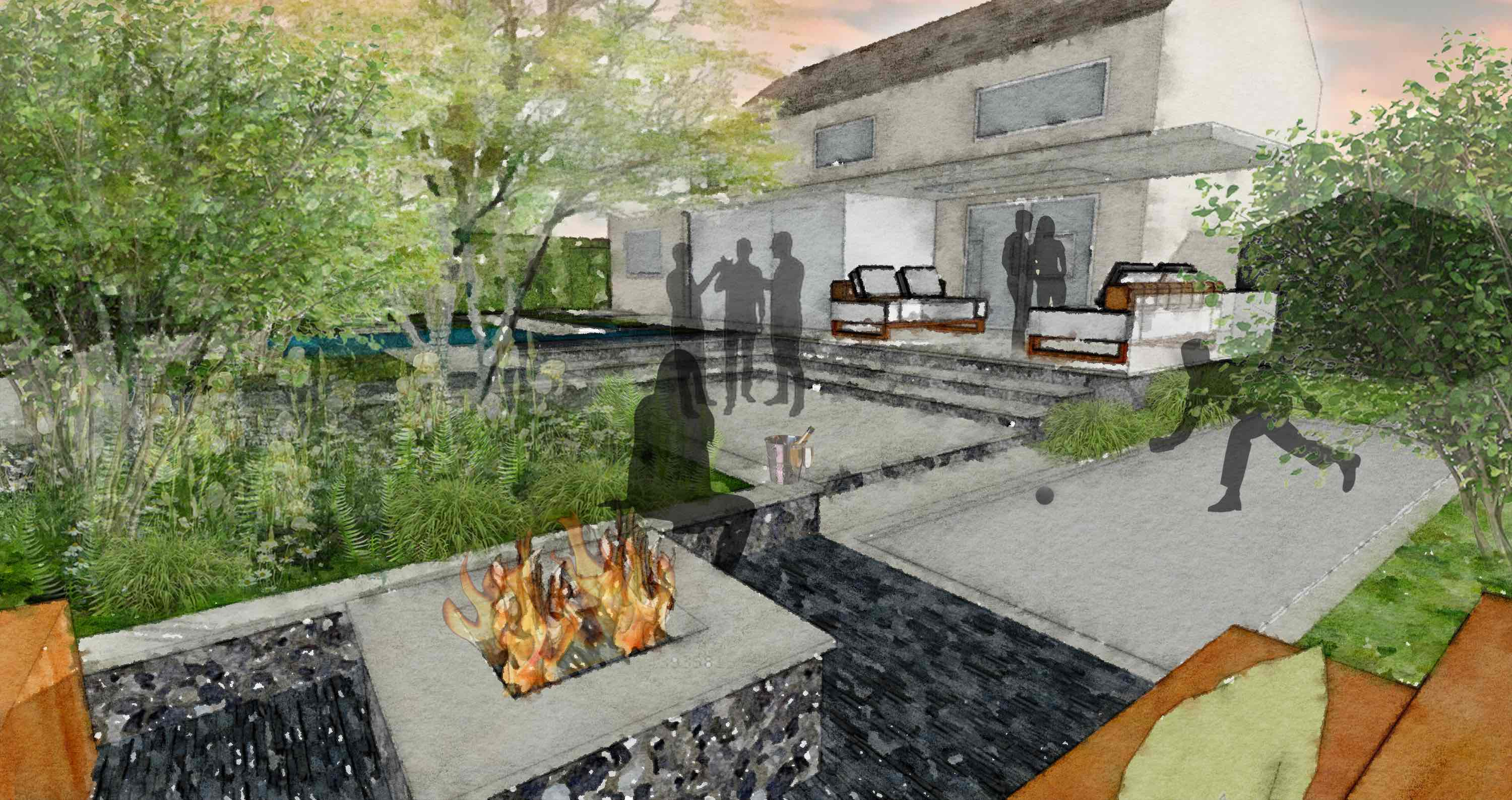 Fire pit, bocce court