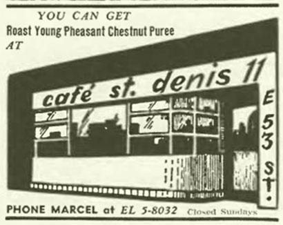 Cafe St. Denis offering Pheasant Chestnut Puree