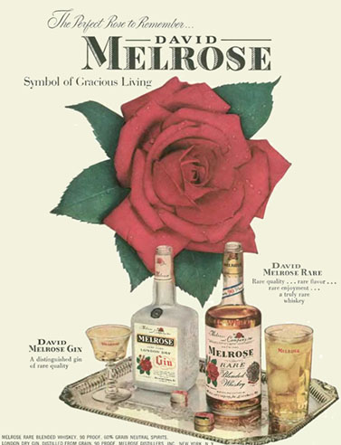 ad for Melrose gin and whisky
