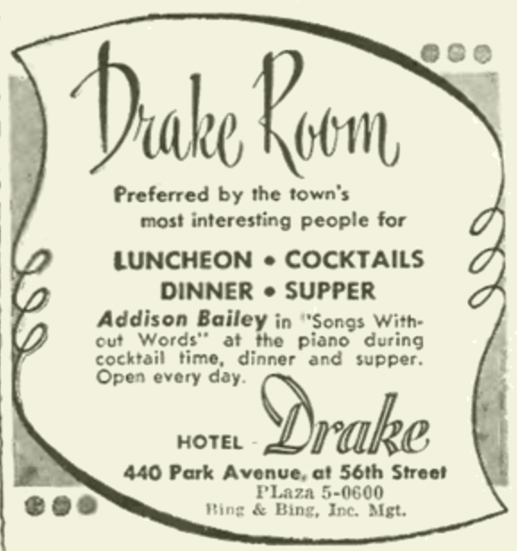 Ad for Drake Room bar in New York.
