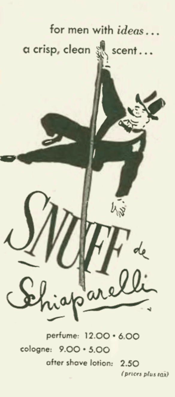 Ad for a men's perfume called Snuff.