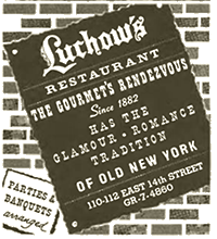 Ad for Luchow's restaurant