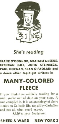 Ad featuring a nun reading progressive books.