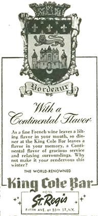 Ad for the King Cole Bar.
