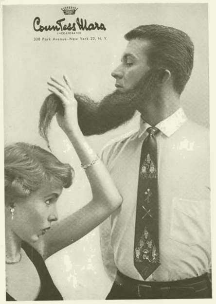 Strange ad of a woman lifting a man's long beard to look at his tie. Freudian ad humor. Guy Freudian ad humor.