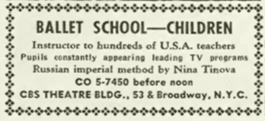Ad for Ballet School in the old CBS building at 5th and Broadway.
