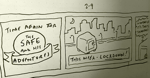 Comic about character called The Safe, from Bry's notebook.