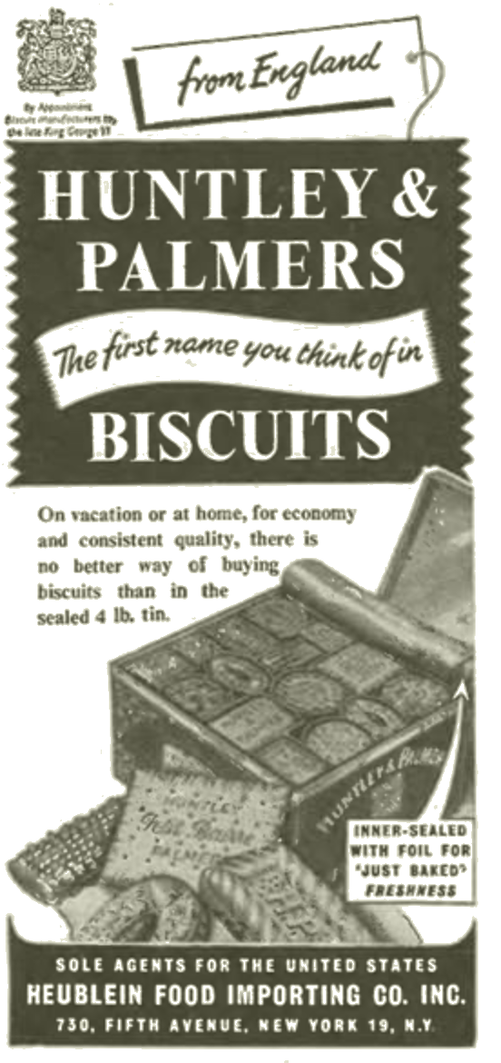 Ad for English crackers that  they're calling biscuits, don't you know