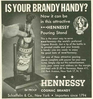 Ad for a silly Hennessy brandy dispenser.