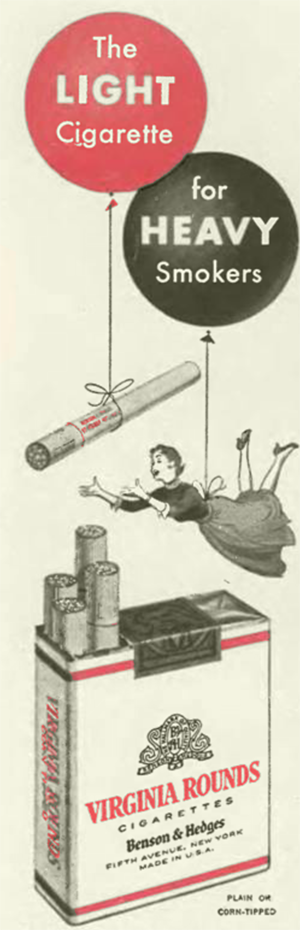 Ad for Virginia Rounds cigarettes.