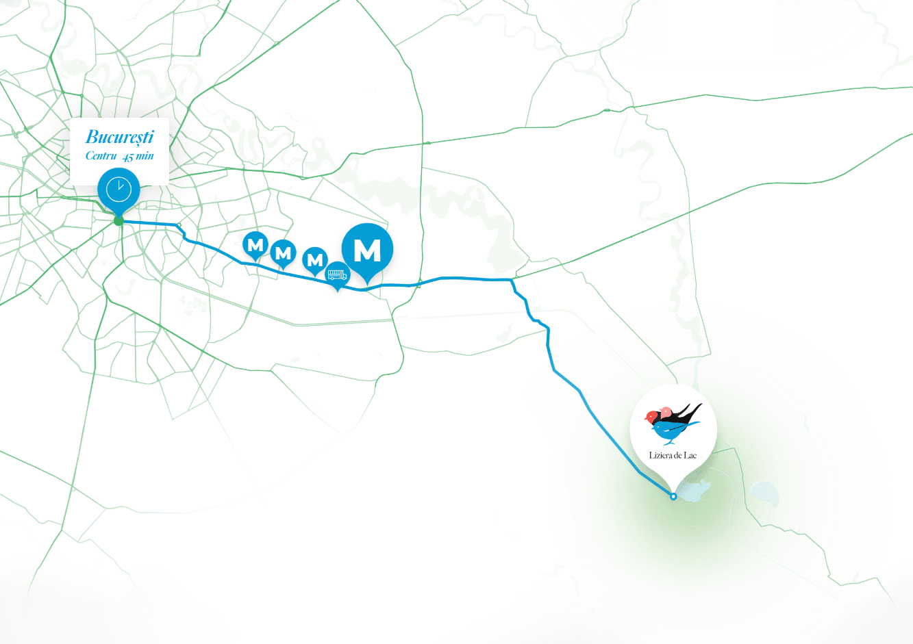 Liziera de Lac - Harta Metrou