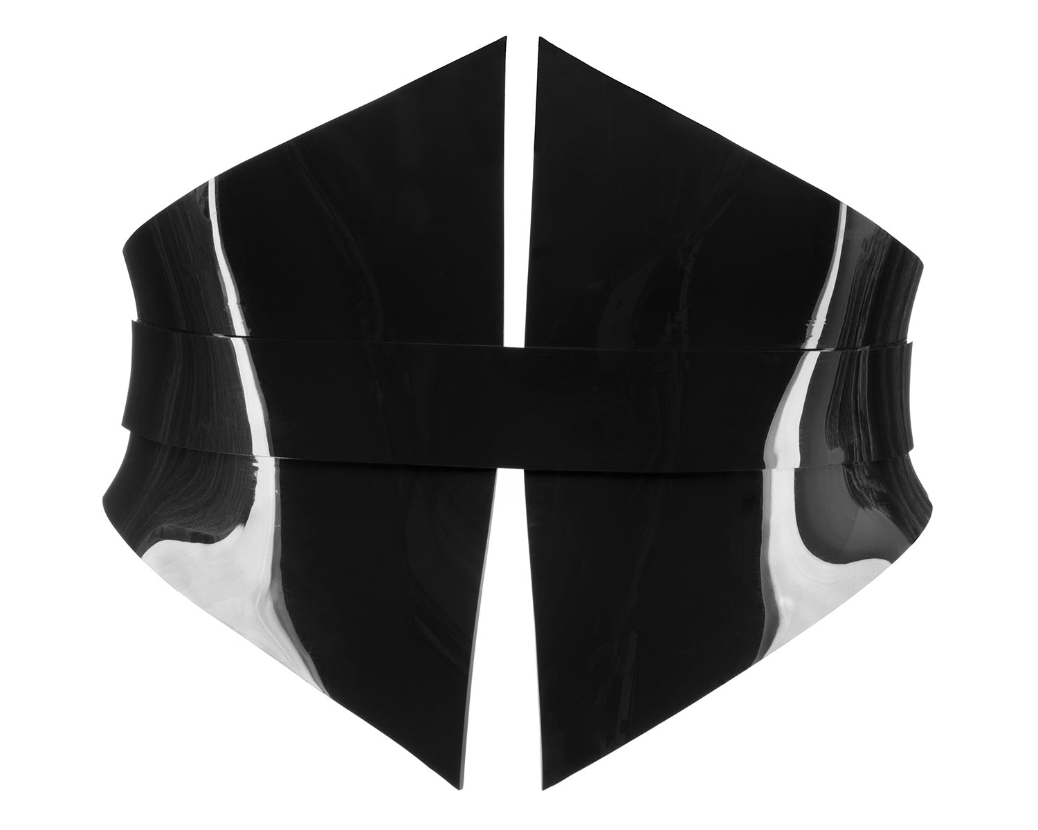 Black vinyl waist-cinching corset belt with back lacing.