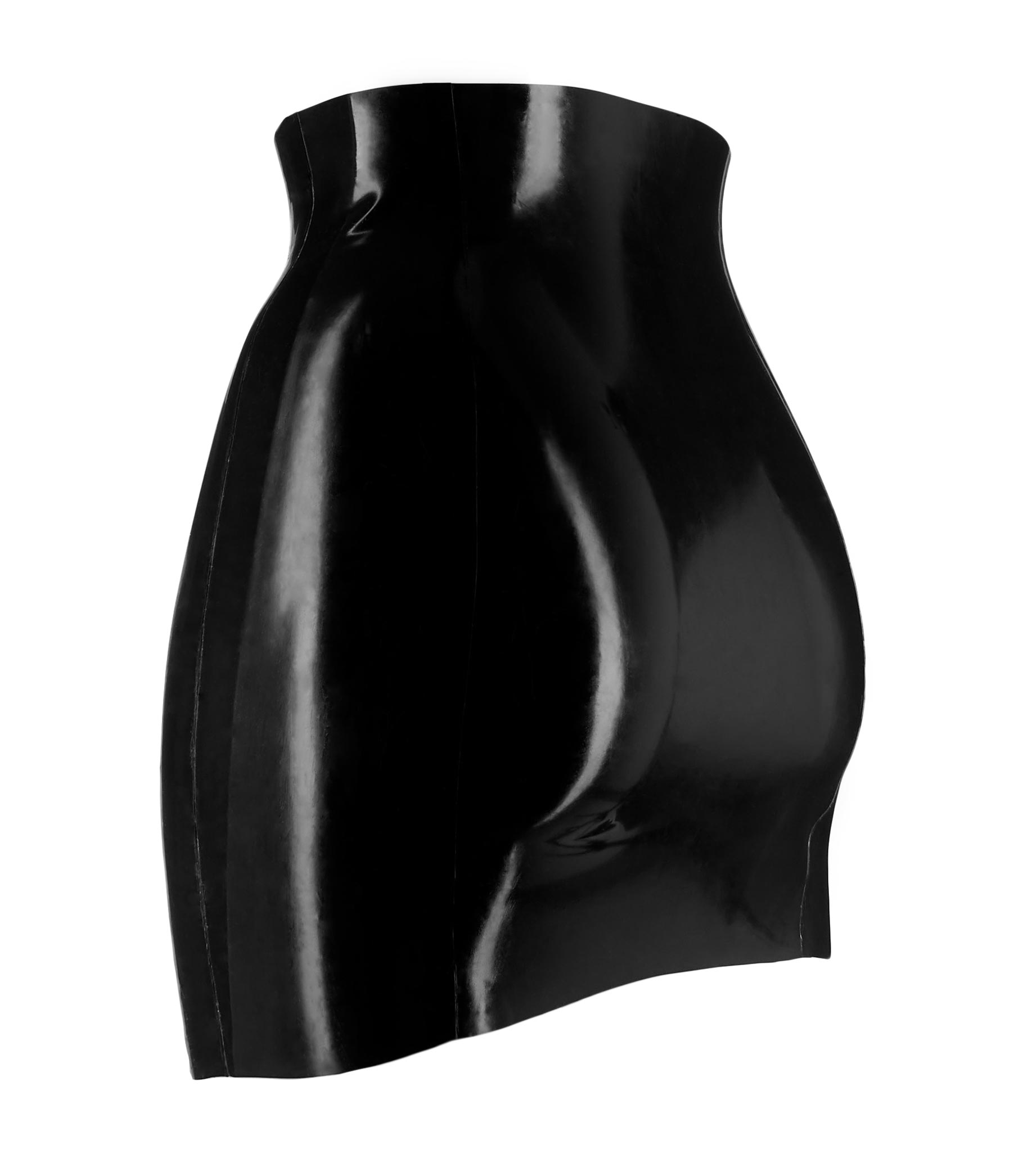 High-waisted, tight & shiny mini skirt in black latex rubber.