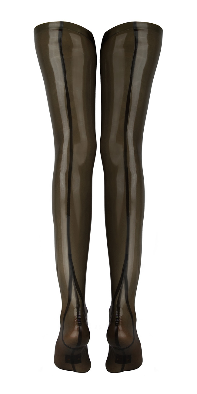 Fully-fashioned, seamed stockings in transparent smoky grey latex: Everything.