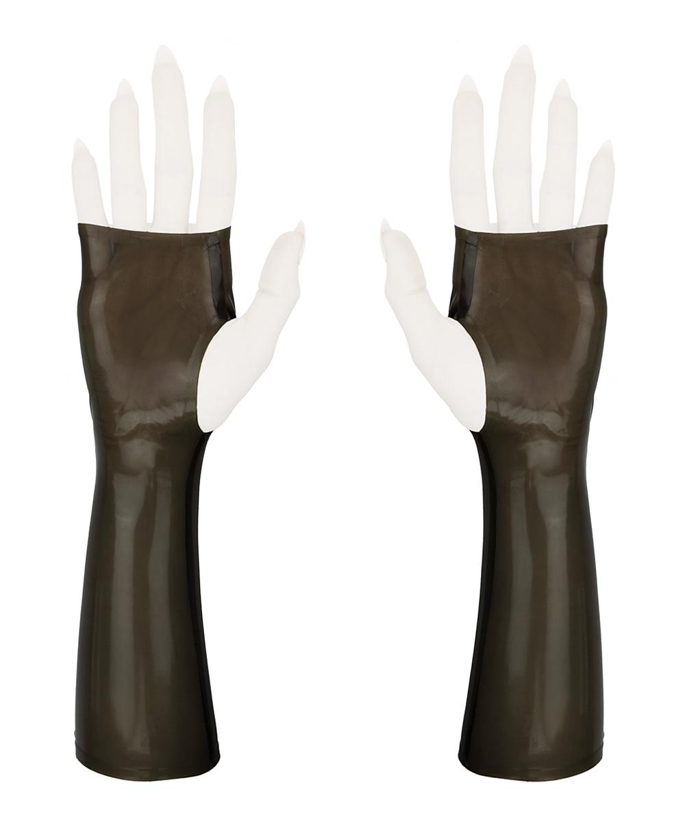 Sleek fingerless wrist gloves, in transparent smoky grey latex rubber.