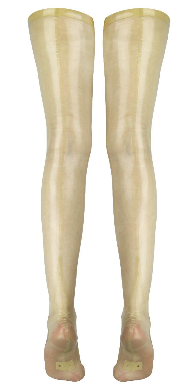 Beige transparent fully-fashioned, seamed latex stockings: Everything.