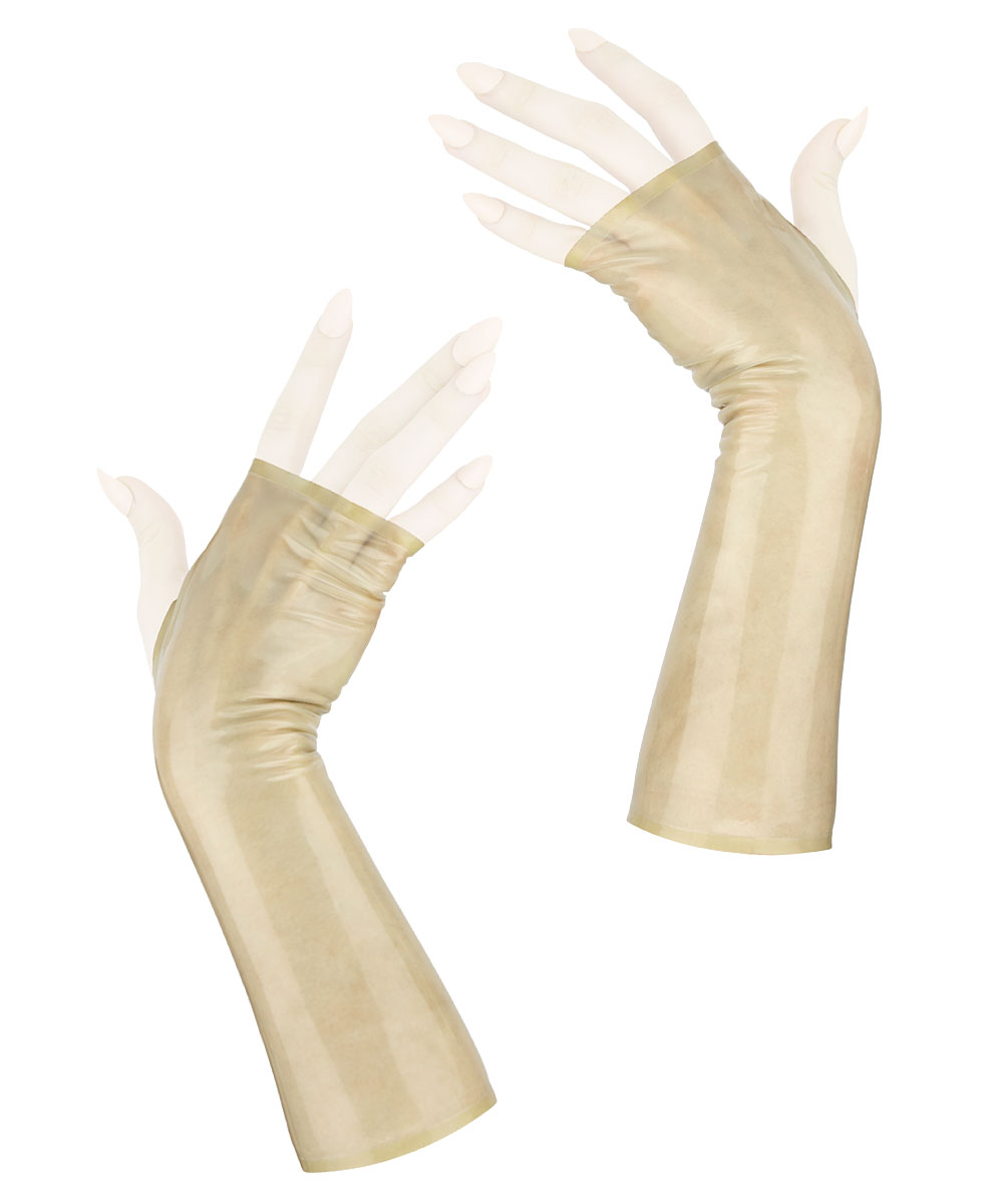 Sleek fingerless wrist gloves, in transparent beige latex rubber.