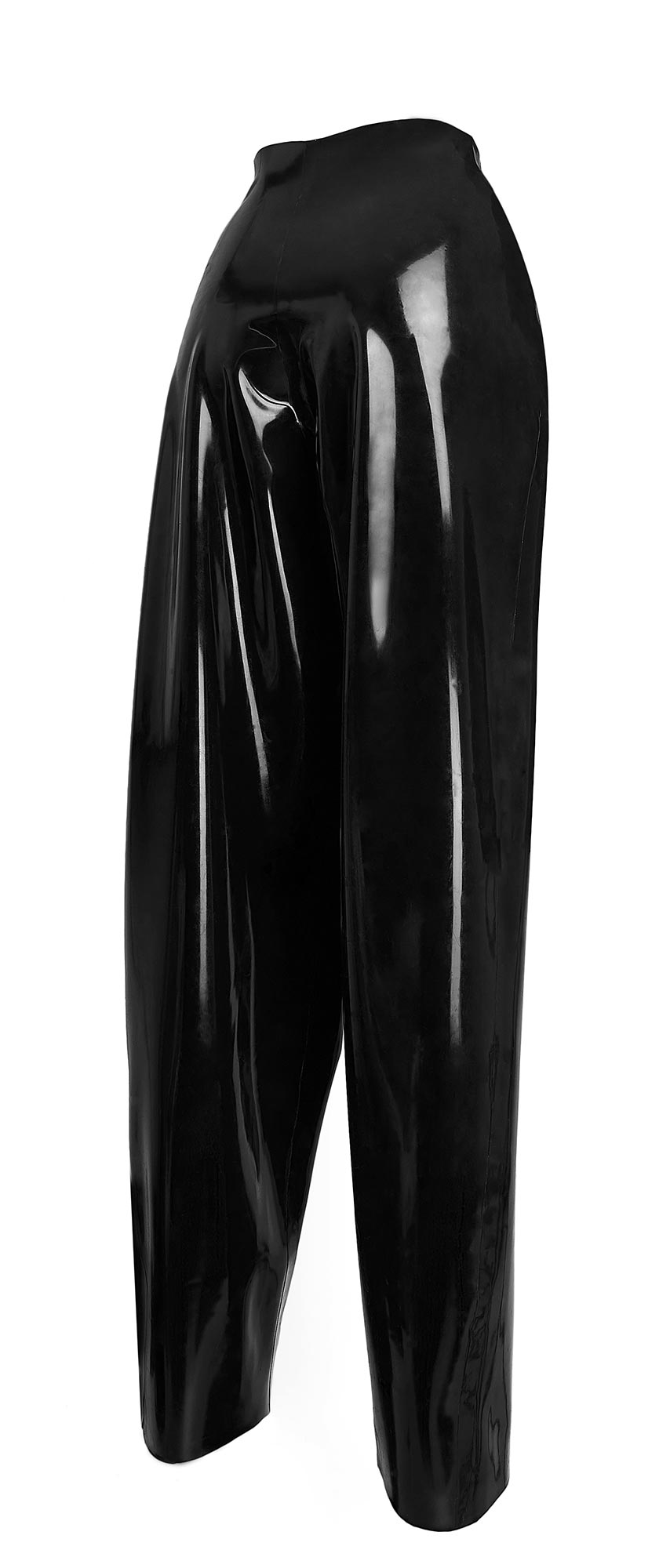 High-waisted black latex trousers, with pleated detail.