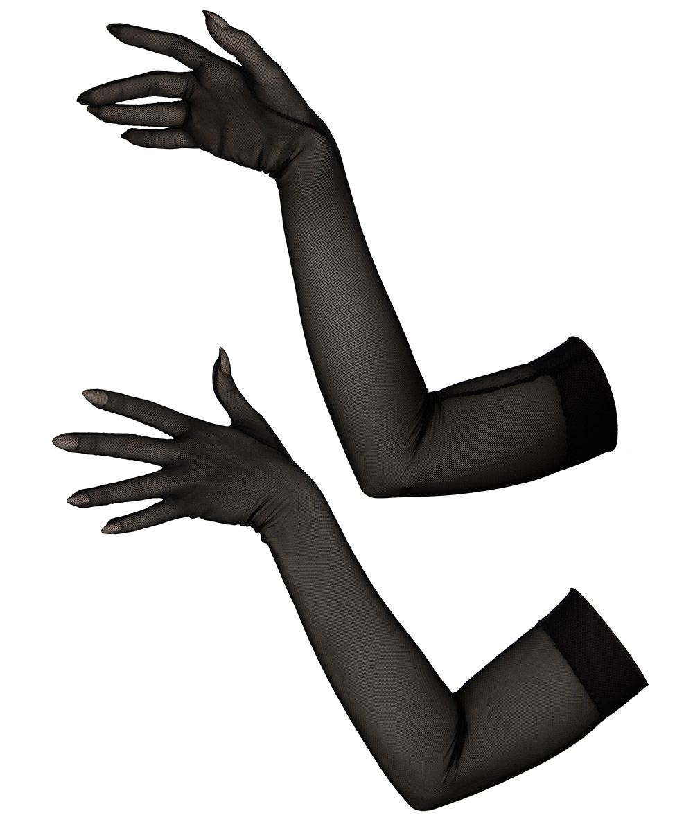 Sheer black tight fitting gloves in opera length, made of a durable 4-way-stretch mesh fabric.