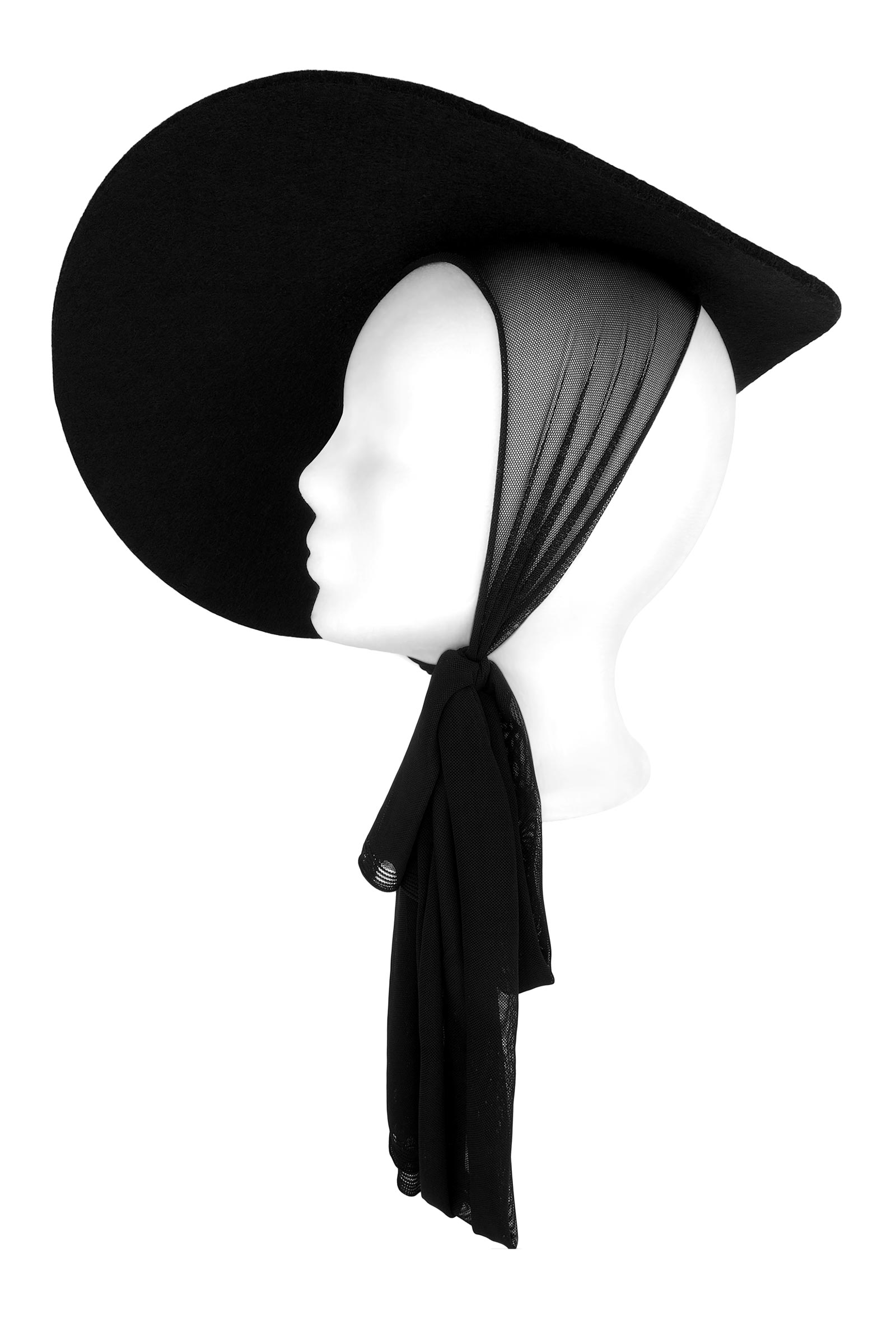 Crisp black felt round pancake hat, with a wide asymmetrical brim and a pussy bow neck tie.