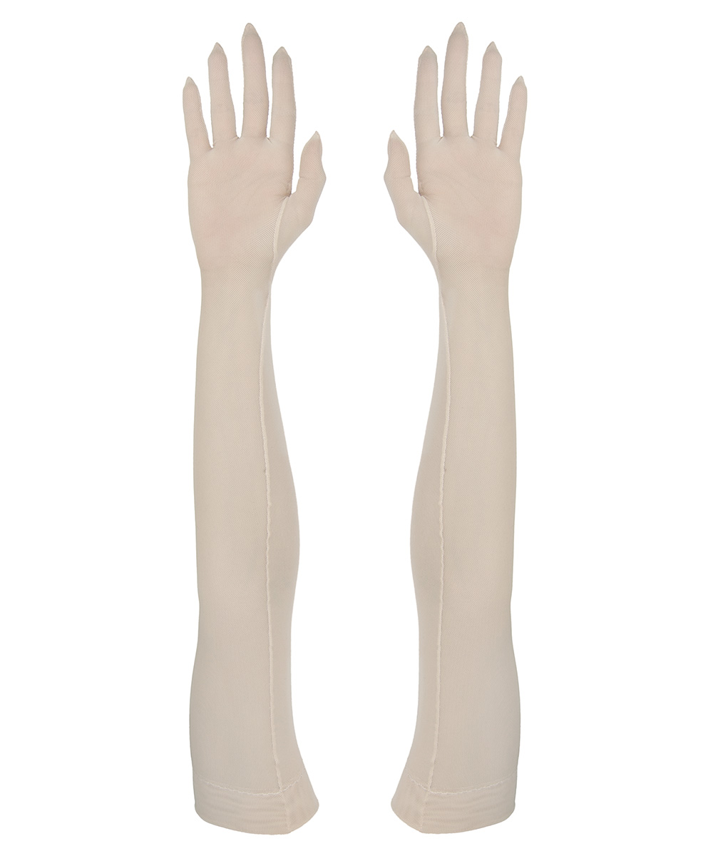 Sheer beige tight fitting gloves in opera length, made of a durable 4-way-stretch mesh fabric.