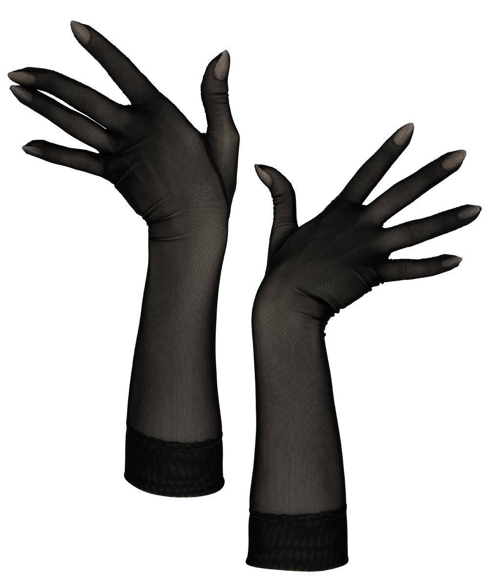 Sheer black tight-fitting wrist gloves, made of a durable 4-way-stretch mesh fabric.