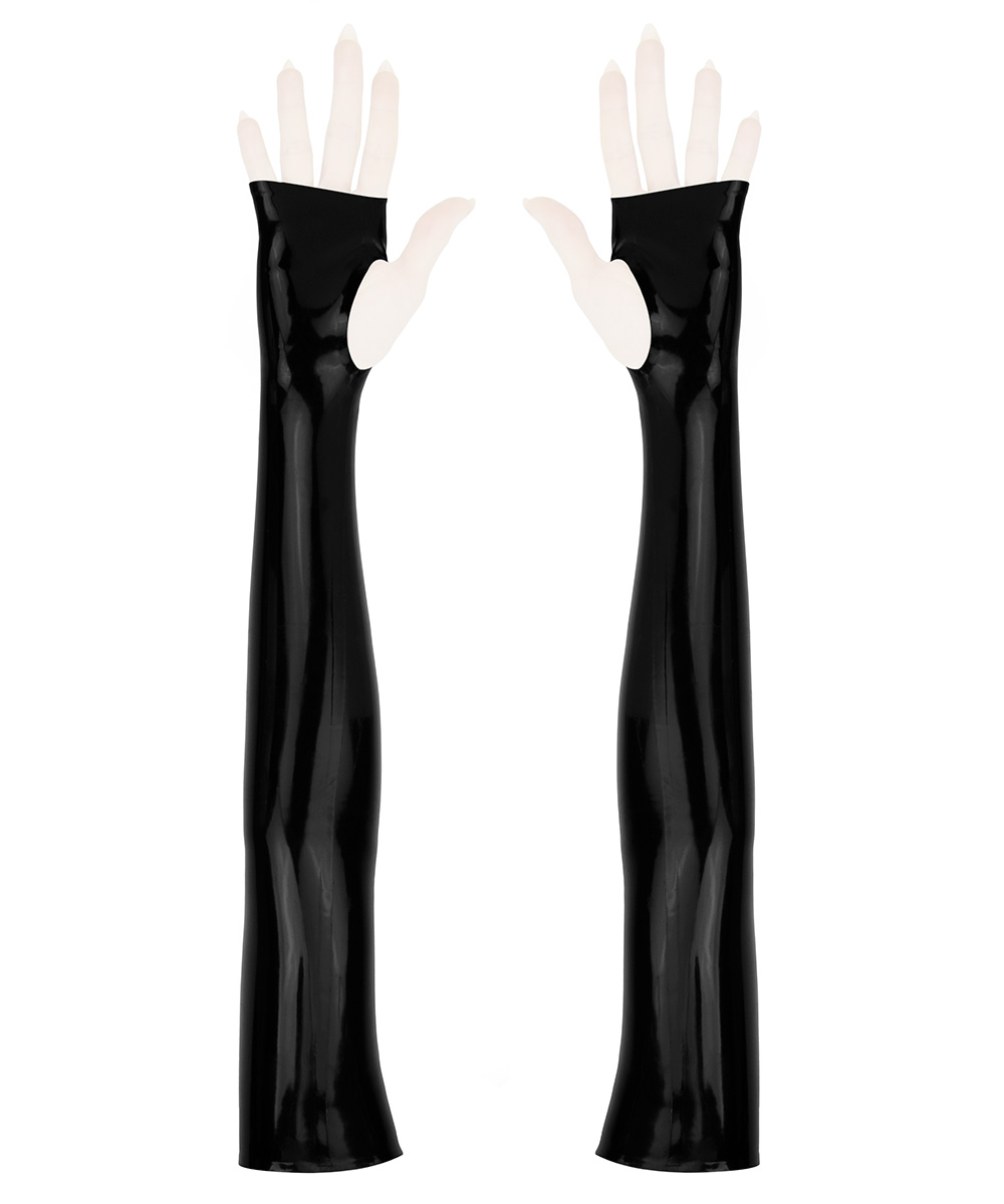 Sleek opera length sleeves without fingers, from shiny black latex rubber.