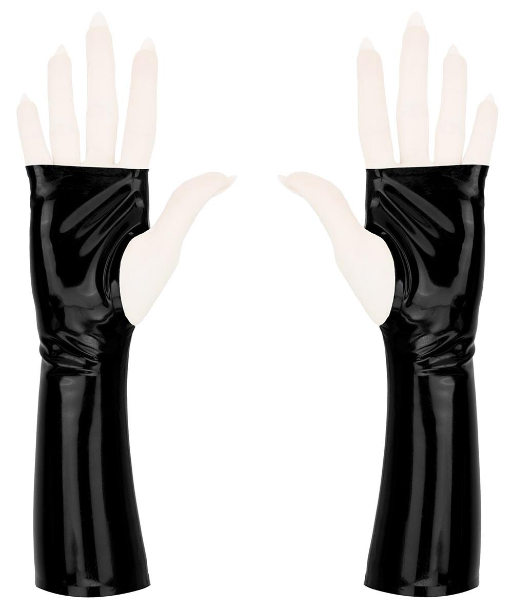 Sleek fingerless wrist gloves, in black latex rubber.
