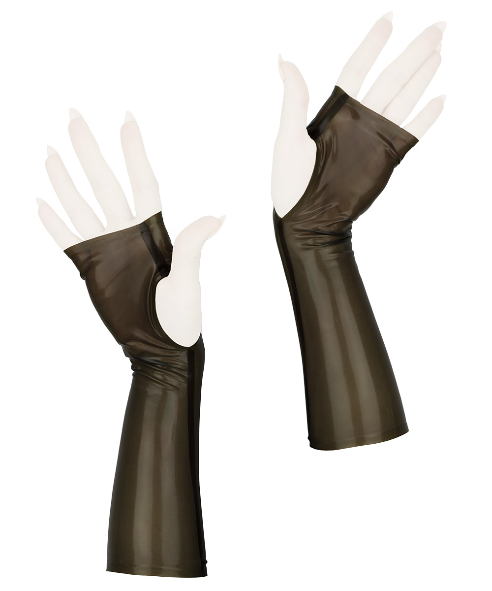 Sleek fingerless wrist gloves, in transparent smoky grey latex rubber.